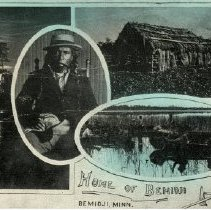 """Image of Home of Bemidji Postcard - Postcard with four Bemidji pictures on it. Front reads: """"Home of Bemidji, Bemidji, Minn."""" Pictures include Chief Bemidji sitting with a pipe; a house of birch bark or other material; a lake; and several people in birch bark canoes.   Back is postmarked March 12, 1915 out of Turtle River. Addressed to """"Miss Emma Hegland, Ames, Iowa."""""""