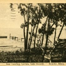 """Image of Boat Landing Lavinia Postcard - Postcard of the Boat Landing in Lavinia on Lake Bemidji. Front reads: """"Boat Landing, Lavinia, Lake Bemidji, Bemidji, Minn.""""  Back is dated March 9, 1928 and is addressed to someone in Michigan."""