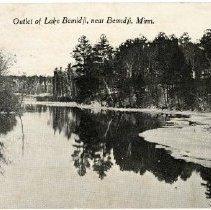 "Image of Outlet of Lake Bemidji Postcard - Postcard of the Outlet of Lake Bemidji in winter. Front reads: ""Outlet of Lake Bemidji, near Bemidji, Minn.""  Back is postmarked Octobder 2, 1917. Addressed to ""Mrs. Edw. Considine, Winona, Minn."""