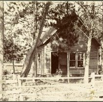 Image of Home of George Forte - Home of George Forte, 909 Mississippi Avenue, Bemidji, undated. Unidentified woman and dog sitting on the step.