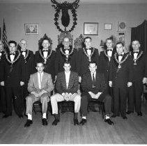 Image of Elks Club Initiation - Elks Club Initiation, Bemidji, March 31, 1956. Ira Batchelder standing on far left.