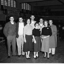 Image of Catholic Youth Organization (CYO) Delegates - Catholic Youth Organization (CYO) at Crookston District Meeting, Oct 25-26, 1956. Delegates from Bemidji?
