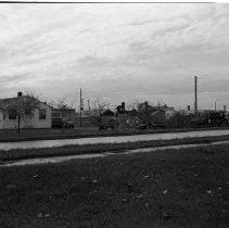 Image of Midway Drive, Bemidji 1955 - Midway Drive, Bemidji. Century Mathews, Seaplane Rides, November 5, 1955. Road or building construction also seen in image.
