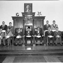 Image of Masonic Temple Officers 1956 - Masonic Temple, Bemidji. Jan 2, 1956. Grand Master and officers.  Richard Skinner (teacher) seated second from left
