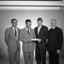 Image of Father Mulvey, Eugene Scribner, St. Philip's Church, Bemidji 1959 - ?, Eugene Scribner, ?, Father Joseph Mulvey, St. Philip's Church, Bemidji 1959