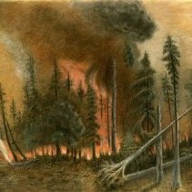Image of 1903 Blackduck Fire - Sketch of a forest fire in Blackduck in 1903. Drawn by Margaret Martin of Redwood Falls based on descriptions by Dr. William Brand of Redwood Falls, who previously worked and lived in Blackduck. Sketched in 1914. The sketch is just like a painting of the same fire by the same artists. The Hinckley Fire Museum acquired both the painting and sketch at separate times, and then donated them to BCHS in 2016 (see 2016.016.2 and 2016.016.3). Also see donor file for more information.