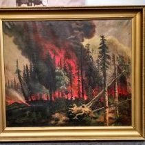 Image of 1903 Blackduck Fire Painting - Large oil painting of a forest fire in Blackduck in 1903. Painted by Margaret Martin of Redwood Falls based on descriptions by Dr. William Brand of Redwood Falls, who previously worked and lived in Blackduck. Painted in 1914. The painting was in Dr. Brand's house for many years before being donated to the Hinckley Fire Museum. The Fire Museum donated it to BCHS in 2016 along with a sketch of the painting and some information (2016.016.1 and 2016.016.2).  Also see donor file for more information.