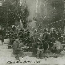 Image of Loggers Eating Chow Near Bena - Loggers eating chow near Bena, outside, 1910