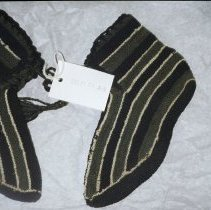 Image of 00.11.01 - Striped knitted booties.  Tongues on the inside.
