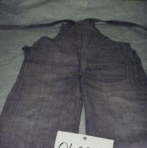 Image of 01.20.15 - Children's jeans overalls.  One back pocket, one frotn pocket.  Metal clasps at top.  One button on each side of waist.