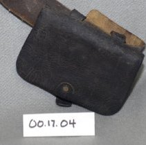 "Image of 00.17.04 - Civil War leather pouch is 2"" X 4 1/2"" made to loop onto belt."