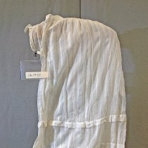 """Image of 06.04.07 - White lawn skirt  has 2 horizontal tucks at bottom of skirt running horizontally around lower half of skirt.  7"""" waist placket uncertain what type of waist fastener was on originally.  Skirt appears to have been cut  off a bodice."""