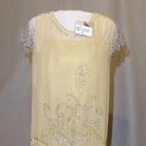 """Image of 05.07.01a,b - Gold colored """"flapper"""" dress with lamae sleeves with gold colored underslip"""