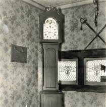 Image of Photo0132.jpg - Grandfather clock at the top of the stairs, made by Peter Heneberger in 1834.