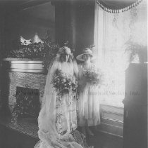 "Image of Photo0151.jpg - Bride Enid Sipe, and bridesmaid, Mary Dorsey ""Dot"" Sipe, in wedding garb  in the Warren-Sipe house."