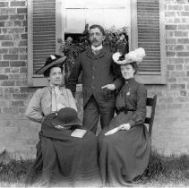 Image of Photo0157.jpg - Singers Glen teachers. William Otterbine Moubray- Mowbray (center), Beulah Bolen, and Carrie Dyche (left or right unknown)    (1903)
