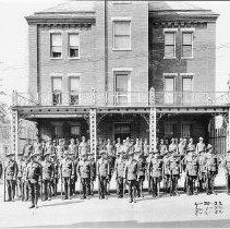 Image of Photo0175.jpg - Company of men in front of Rockingham Co. - Harrisonburg Jail on Graham Street