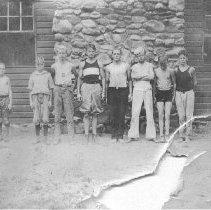 Image of Photo0193.jpg - Campers outside lodge at Camp Shenandoah