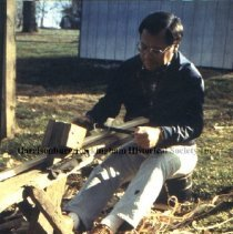 Image of Photo3050.6.jpg - Man using a shaving horse to form small strips of wood.