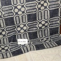 Image of 03.01.869 - Wool navy blue and white handmade woven throw blanket that is hemmed by hand.  Pieced together with seams throughout.  Good condition.
