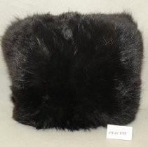 Image of 03.01.899 - Down-filled black fur hand muff lined with fabric.  Hanging loop is attached.  Good condition.