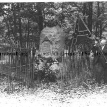 Image of Photo0048.jpg - William H Keister Holding Confederate flag at Turner Ashby Monument