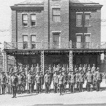 Image of Photo0056.jpg - Co. C, Virginia Army National Guard in front of Rockingham County Jail on Graham Street, Harrisonburg, Va. Building demolished in _______