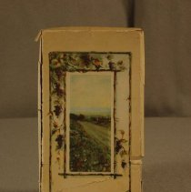 Image of 01.19.04 - Tan border, trailing grapes surround a scenic country lane.  Box is empty