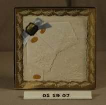 Image of 01.19.07 - A)  gold border with clear plastic front so that the hankies are visible B-D)  Three hankies, white fabric embroidered with white thread.