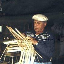 Image of Photo3049.1.jpg - Ernest Nicholas forming a basket.