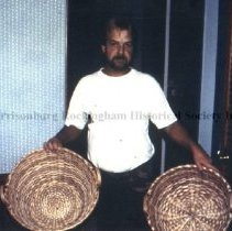 Image of Photo3049.6.jpg - Man holding two finished baskets