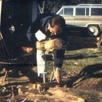 Image of Photo3050.03.jpg - Man splitting wood for basket making