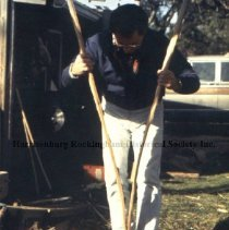 Image of Photo3050.5.jpg - Man splitting wood into smaller pieces for basket making.