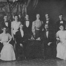 Image of Photo3248ov.jpg - Photograph of graduating class of Harrisonburg High School in 1908.  People:  Yancey (Canter), Johnson*, Keister*, Beard, Swank, Fletcher, Wilton (Price), Wolfe, Davis*,  Wright, Earman, Harnsberger.   *= teachers