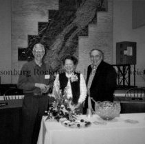 Image of Photo3251.jpg - The historical society welcomes a new administrator.  Left to right:  John Sellers (new admin.),  Faye Witters (former admin.),  Larry Bowers (president)