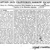 Image of Captain Jack Crawford's narrow escape, 1910