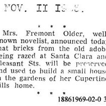 Image of Mrs. Fremont Older will use bricks in her Cupertino house, 1925