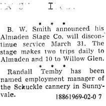 Image of B. W. Smith discontinues Almaden Stage Co. service, 1938