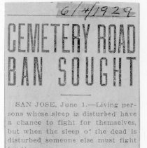 Image of Cemetery road ban sought, 1929