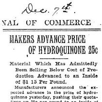 Image of Makers advance price of Hydroquinone 25 cents