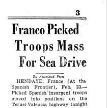 Image of Franco picks troops for military drive toward the Mediterranean sea