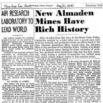 Image of New Almaden Mines have rich history, 1941