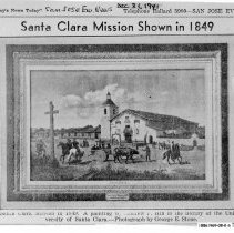 Image of Santa Clara Mission shown in 1849, 1941 news clipping
