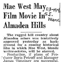 Image of Mae West films a movie in Almaden Hills, 1940