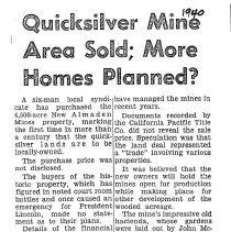 Image of Quicksilver Mine sold, 1940