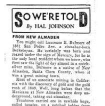 Image of News clipping about the Almaden Mines