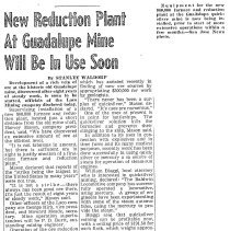 Image of Reduction Plant at Guadalupe Mine will be in Use Soon, 1943