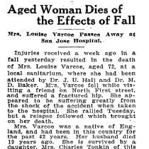 Image of Mrs. Louise Varcoe obituary, 1940