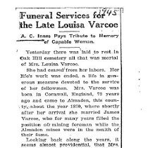 Image of Funeral Services for the Late Louise Varcoe, 1945