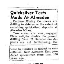 Image of Quicksilver Tests made at Almaden, 1951
